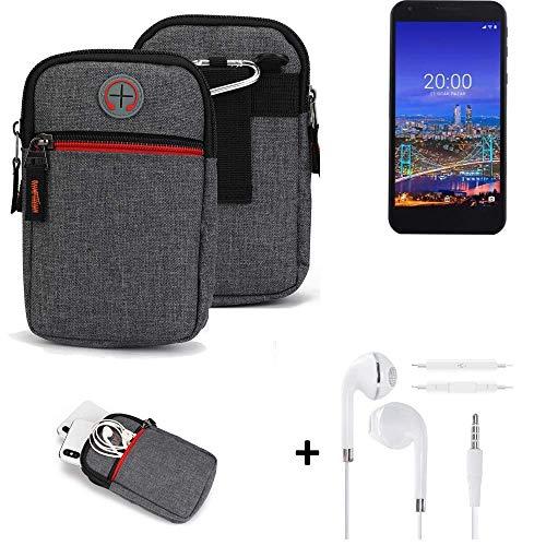 K-S-Trade® Gürtel-Tasche + Kopfhörer Für Vestel 5530 Handy-Tasche Schutz-hülle Grau Zusatzfächer 1x