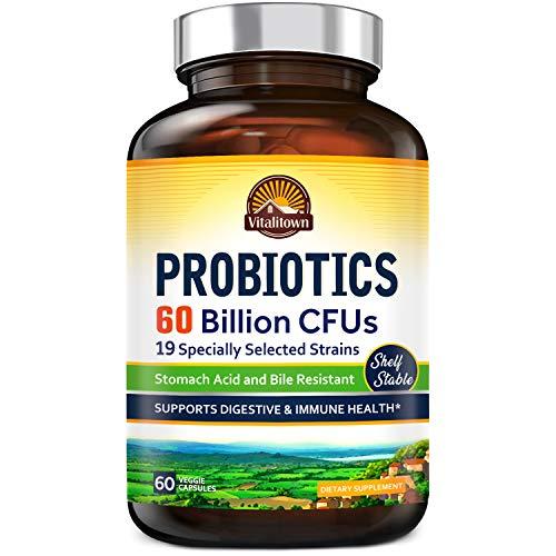 Vitalitown Probiotics + Prebiotics | 60 Billion CFUs 19 Strains | 60 Delayed Release Veg Caps | Shelf Stable, Stomach Acid & Bile Resistant | Digestive & Immune Support | Vegan, Non-GMO, Dairy Free