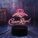 Xiujie Nuevo Crown Royal Logo Whisky Whisky Wine 3D LedLámpara DeLuz NocturnaSala De Estar Decoración De La Oficina Año Nuevo Navidad Regalo De Navidad