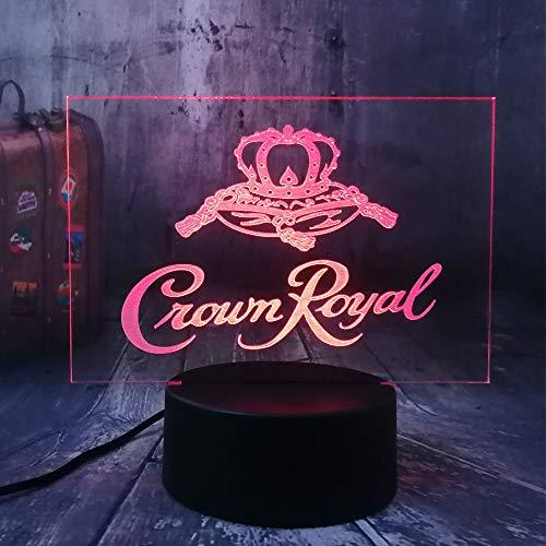 Xiujie Neue Crown Royal Logo Whisky Whisky Wein 3D Led NachtlichtLampe Home Room Office Decor Neujahr Weihnachten Weihnachtsgeschenk