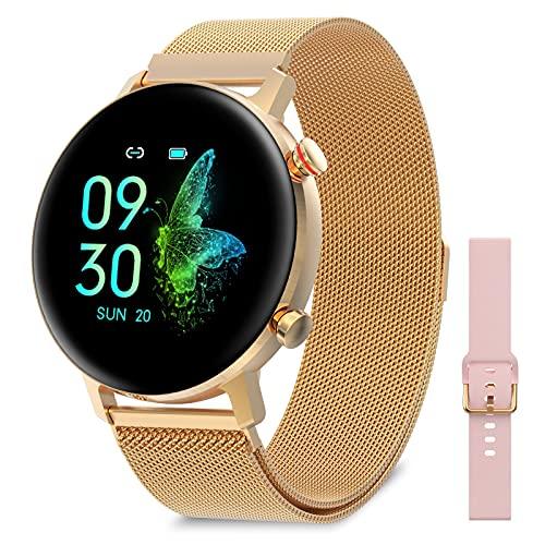 """Bebinca Smartwatch para Mujer con función Femenina Reloj Inteligente 1,1""""Deportivo IP68 Dorado,Monitor de oxígeno en Sangre y Frecuencia cardíaca, Reloj de Fitness IP68 Impermeable(Oro)"""
