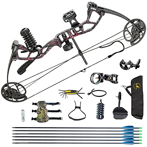 Youth Compound Bow Package,USA Gordon Limbs,10-40lbs Adjustable Draw Weight,17'-27' Draw Length Without Bow Press,Bow Kit for Teens/Juniors,Right Hand,Lightweight Design (Muddy Girl-A)