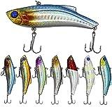 Shaddock Sinking - Señuelos de pesca (7 unidades, lote de 10,16 cm, incluye 2 anzuelos triples extrafuertes