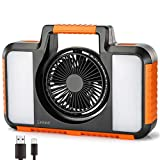 Linkind 15W LED Work Light Rechargeable 1500lm Portable Flood Light with 2 Speed Rotatable Fan, 8800mAh USB Power Bank, Waterproof 4 Lighting Modes for Outdoor Camping Hiking Car Repairing Emergency