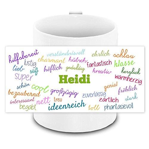 Tasse mit Namen Heidi und positiven Eigenschaften in Schreibschrift , weiss | Freundschafts-Tasse - Namens-Tasse
