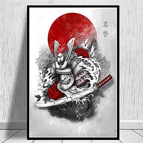 JYWDZSH Stampa su Tela Inchiostro Zen Giapponese Bonsa Bushido Samurai Kanji Quadri su Tela Pittura Immagini per Pareti Soggiorno, 60X80Cm Senza Cornice