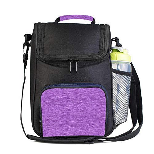 Bolsa de almuerzo para mujer, lona, grande, bolsa térmica para alimentos, almacenamiento fresco, caja de picnic, bolsas aisladas para nevera, color morado