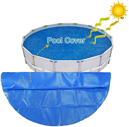 10ft Round Solar Pool Cover, 10-Foot Easy Set Pool Cover Bubble wrap Frame Pools Protector Above Ground Swimming Pool Protection Cover, Easy Set,Easy to Clean