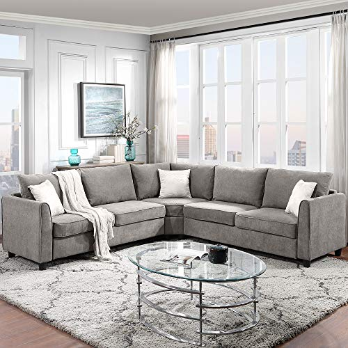 AUKUYEE Modern Fabric Sectional Couch Living Room, 6-Pcs L-Shaped...