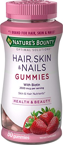 Hair Skin and Nails Vitamins with Biotin & Vitamin C by Nature's Bounty Optimal Solutions, Hair Skin and Nails Gummies - Strawberry Flavored, 80 Gummies (3-pack)
