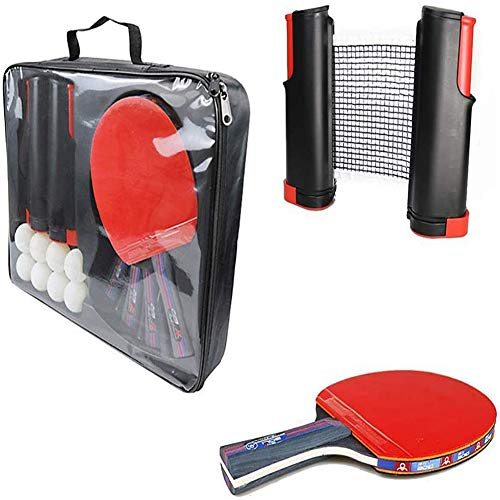 Best Deals! YAOLAN Ping Pong Set 4 Table Tennis Bats 1 Carry Case and 8 Ping-Pong Balls with 1 Retra...