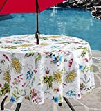 Benson Mills Indoor Outdoor Spillproof Tablecloth for Spring/Summer/Party/Picnic (Blooming Floral, 70' Round with Umbrella Hole)
