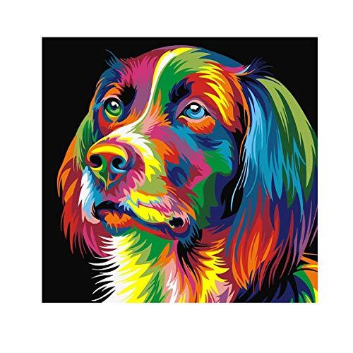 40 * 50Cm Leinwand-Malerei Für Erwachsene Anfänger Und Kinder, Die Mit Acrylfarben Und Pinsel - Herr Bunter Hund (Ohne Rahmen)