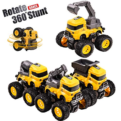 Construction Trucks Toy Cars, 4 Pack Pull Back Vehicles Cars for Toddlers, 4 Wheels Drive Durable Friction Powered Stunt Push and Go Inertia Vehicle Truck Playset for 3 4 5 6 7 8 Year Old Boys Girls