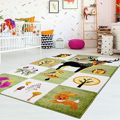 MyShop24h Kinderteppich Kinderzimmer Teppich Flachflor Tiere REH Eule Igel Kinderzimmer Teppich, Größe in cm:80 x 150 cm