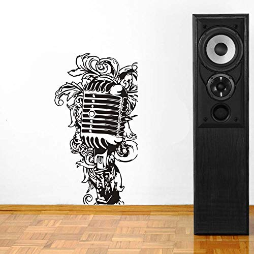Muziekinstrument Microfoon Bloem Decals Muurschildering voor Muziek Slaapkamer Home Decor Vinyl Muursticker Verwijderbaar Behang