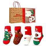 Aitsite 4 Paar babysocken Weihnachtssocken,Antirutsch Söcken Baumwolle Mädchen Babysöcken 0-3 Jahre