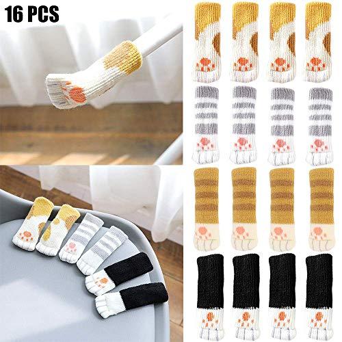 moonmoonlala Stuhlbein-Socken, 16 Stück, gestrickte Stuhlsocken für Stuhlbeine, Tischbeinschoner, Bodenschoner, mit niedlichem Katzenpfoten-Design, 4 Muster, passend für einen Umfang von 5,8 - 18,5 cm