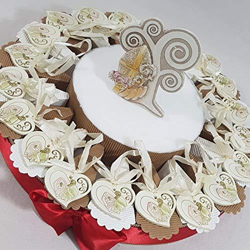 Torta Bomboniera con ciondolino cuore simbolo Santa Cresima. *