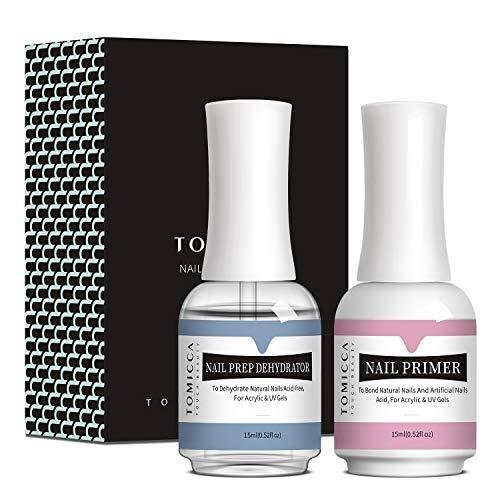 TOMICCA Deshidratador e imprimación de uñas natural profesional para preparación de uñas, imprimación de unión superior para polvos acrílicos y esmalte de uñas en gel 15 ml / 0,52 oz