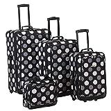 Rockland Escape 4-Piece Softside Upright Luggage Set, Black Dot, (14/19/24/28)