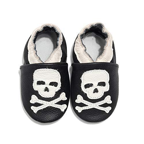 Zapatos de bebé de piel suave para bebé o niña, zapatos de bebé, (cráneo), 6-12 mois
