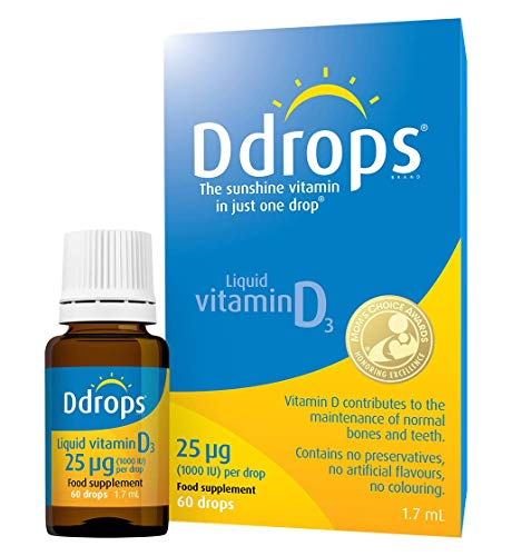 Ddrops 25 µg 60 drops - Daily Vitamin D3 Drops Supplement for Adults