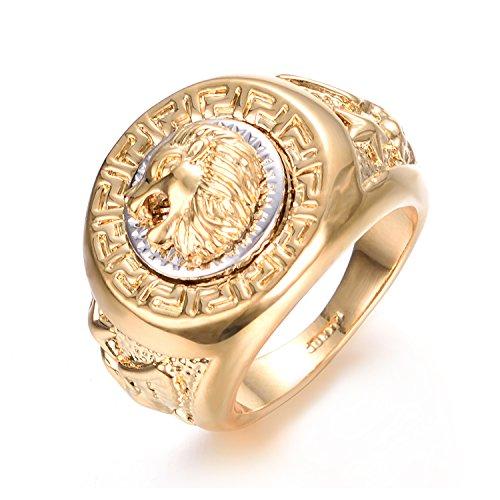 Yoursfs Anello a forma di testa di leone, in oro giallo placcato e acciaio inossidabile, da uomo, idea regalo per san Valentino, anniversario e Fede, 17, cod. R933Y1-8FR