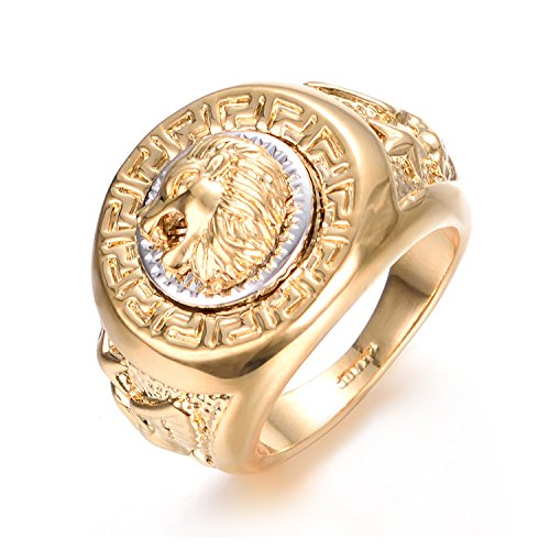 Yoursfs Mens Signet Ring Gold 18ct Stainless Steel Vintage Lion Head Little Finger Rings