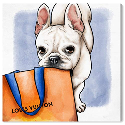 The Oliver Gal Artist Co. Fashion and Glam Wall Art Canvas Prints 'Shop Ready Frenchie' Home Décor, 24' x 24', Orange, White