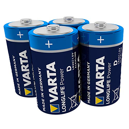 Varta Longlife Power Batterie D Mono Alkaline Batterie LR20, 4er Pack