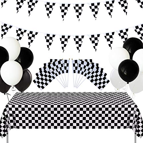 Decoración de Fiesta Temática de Carreras, Suministros para Fiestas de Autos de Carreras,Fiesta Cumpleaños,Incluye globos blancos y negros, mantel, banderas a cuadros, estandarte de bandera a cuadros