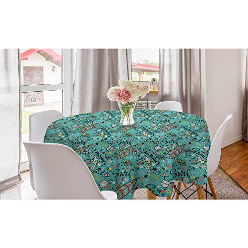 """Philip C. Williams Tropical Composition Cocktail Ice Cream Floral Elements and Lettering Round Table Clothes Surfboard Kids Picnic Table Modern Round Tablecloth Turquoise Multicolor Diameter 50"""" inch"""