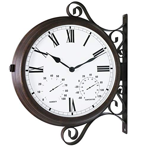Bestime Three-in-one Double Sided Wall Clock Wrought Iron, Metal, Quiet, Easy Read Two Faces Retro Station Clock Antique Hanging Clocks for Garden Home Décor Indoor Outdoor Wall Decoration