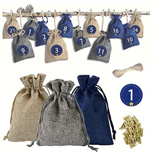 Jute zak, 24 stuks, zakje met koord, tas, sieraden, snoepjes, chocolade, cadeau, gastgeschenk, decoratie, bruiloft, doop, feestje, met stickers en koord