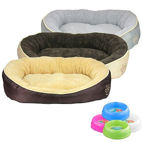 Smartweb Waschbares Flauschiges Hundebett 58 x 48 x 18cm für Hund und Katze Katzenbett Hundekissen Katzenkissen Tierkissen Farbe: Braun