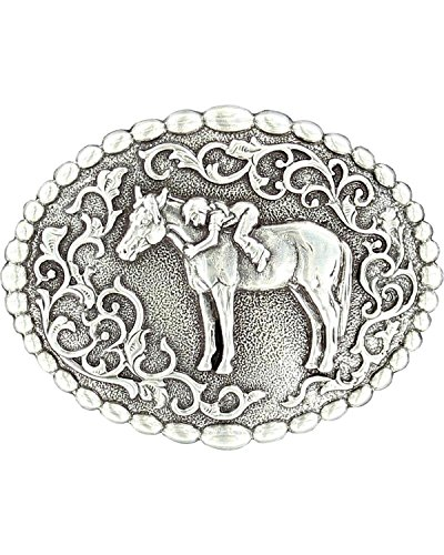 Nocona Girl's Young Girl On Horse Belt Buckle, Silver, OS