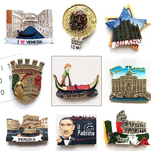 Kühlschrankmagnet 9pcs Harz Kühlschrank Magnet Italien Souvenirs Venedig Gondel Perugia Verona Rom Kolosseum Trevi Brunnen Magnetische Aufkleber