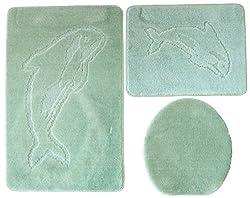 beige Set 55x85 cm einfarbig WC Vorleger mit Ausschnitt f/ür Stand-WC Ilkadim Delphin Badgarnitur 3 TLG