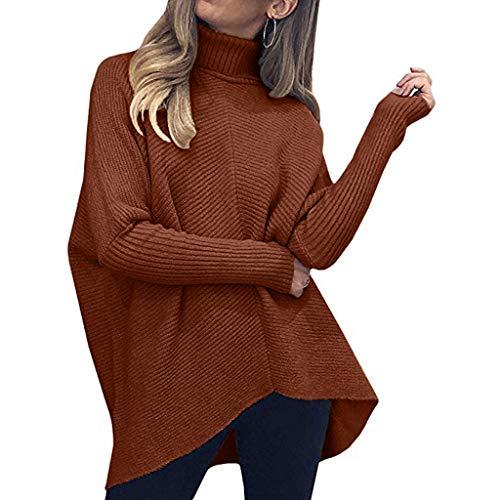PPangUDing Rollkragenpullover Strickpullover Sweater Damen Classic Langarm Einfarbig Locker Übergrößen Feinstrick Knitted Jumper Top Modisch Frauen Outdoor Freizeit Wild Herbst Winter Sweatshirt