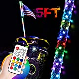 LED Whip Light with Flag, OFFROADTOWN 5FT Spiral RGB Chase Light RF Remote Controlled LED RGB Whip Lights Pole 360° Twisted Antenna Light with Dancing Light for Off- Road ATV UTV RZR Trucks Dune