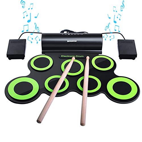 Set di Batteria Elettronica, bonrob Roll Up Percussioni Midi Drum Pad Kit con Cuffie, Pedali del Tamburo Incorporati, Bacchette per Bambini, Ragazzi, Ragazze, Tempo di Gioco, Regalo, Fino a 10St BM001