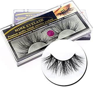 2Box/Lot 3D Real Mink 25mm Long False Eyelashes LASGOOS Luxurious Fluffy Messy Cross Light Weight Dramatic Fake Eye Lashes Makeup Set (E82)