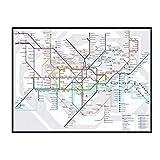 Swarouskll Mapa del metro de Londres, carteles artísticos de pared, pintura, impresión, sala de estar, decoración del hogar, 50x70 cm, sin marco, 1 Uds.