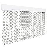 HOME MERCURY – Cortina espiral para puerta exterior o interior, material PVC – libre de insectos (200x90CM, Blanco+Filo Gris R3)