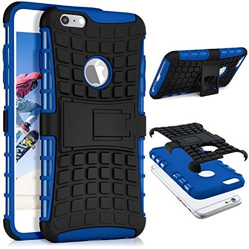 Preisvergleich Produktbild ONEFLOW® Tank Case iPhone 6S Plus / 6 Plus Outdoor Hülle / Panzer Handyhülle mit Ständer - 360 Grad Handy Schutz aus Silikon & Kunststoff,  Blau