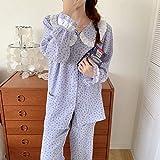 FLORVEY Pijama Otoño algodón Suelto cómodo Cereza Moda Dulce Pijamas Casuales Conjunto de Ropa de hogar Pantalones de Manga Larga para Mujer