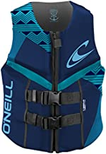 O'Neill Wetsuits Women's Reactor USCG Life Vest, Navy/River/Turquoise, 8
