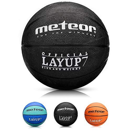 meteor® Layup Kinder Mini Basketball Größe #5 ideal auf die Jugend Kinderhände von 4-8 Jährigen abgestimmt idealer Basketball für Ausbildung weicher Basketball (Größe 7 (Herren), Schwarz)