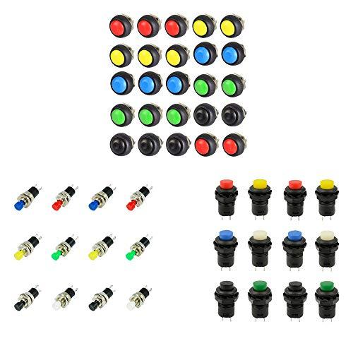 JJDD Mini interruptor de botón pulsador momentáneo, apertura normal + interruptor momentáneo de botón + interruptor de botón momentáneo impermeable (DS-428, PBS-110, PBS-33B)
